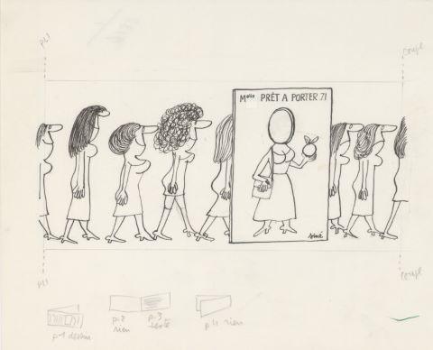 Mlle Prêt à porter 71, illustration originale pour un carton d'invitation destiné à la Fédération française des industries du vêtement féminin