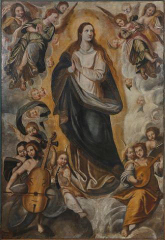 Assomption de la Vierge dans une nuée d'Anges musiciens