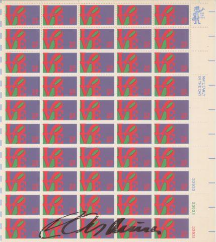 Planche complète de 50 timbres américains Love