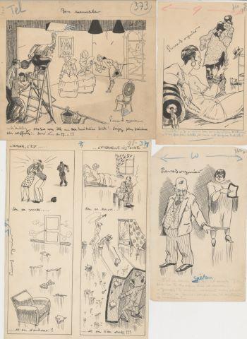 3 caricatures et 1 planche