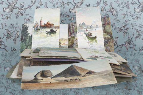 Environ 70 aquarelles et dessins