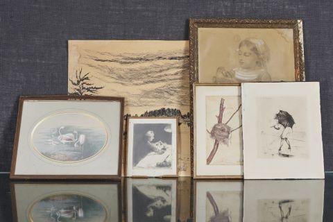 Gravures et dessins à thématique animalière et de paysagère [6 œuvres]