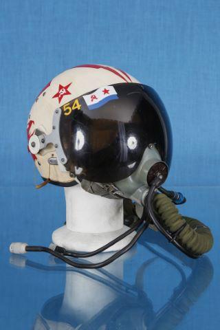 Casque soviétique à visière amovible et son masque à oxygène KM3