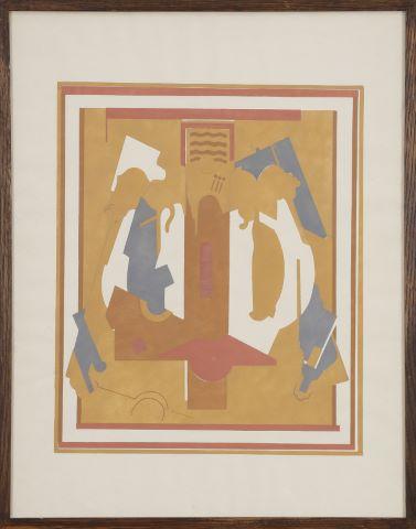 Crucifixion, premier état de la série des gouaches au pochoir en onze couleurs