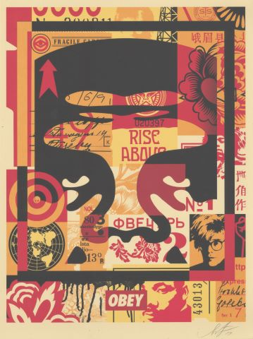 Triptyque 3 faces Obey Giant (collage)