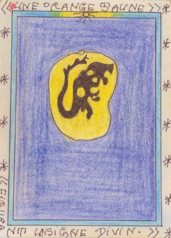 Une orange jaune figurant un signe divin