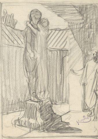 """Fille embrassant une sculpture, """"Le Baiser d'Eunice"""" [recto] / Homme assis [verso]"""