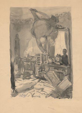 La Vérité concernant Pyecraft, illustration d'une nouvelle de H.G. Wells publiée dans le supplément littéraire de l'Illustration
