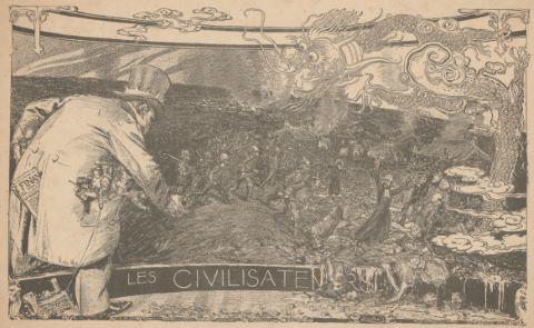 Les Civilisateurs, illustration parue dans la revue Cocorico datée du 15 février-1er mars 1901