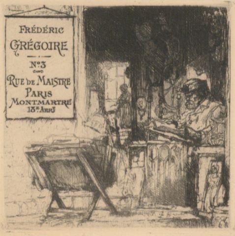 Carte de visite de Frédéric Grégoire, n°3 rue de Maistre Paris Montmartre