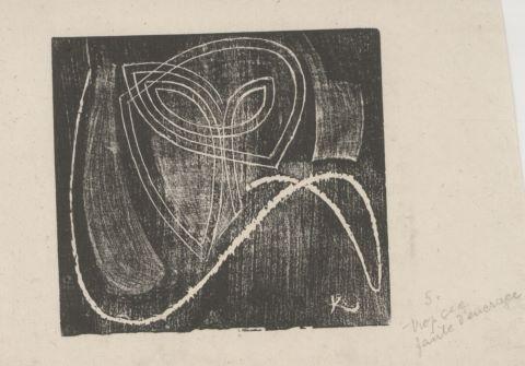 Projet de carton d'invitation d'une exposition à la galerie Povolovzky (version probablement non retenue)