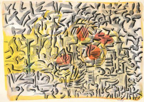 Compositions sur fond jaune [2 œuvres]