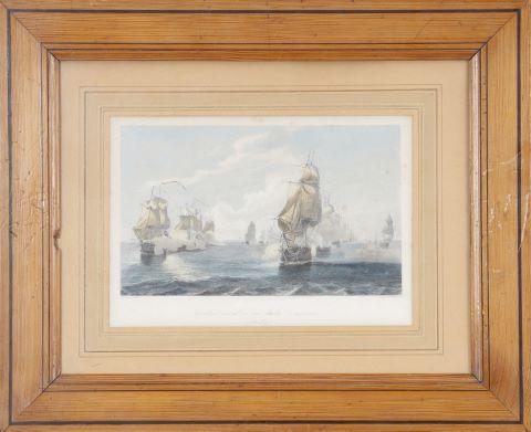 4 gravures de marines et vues de Paris anciennes