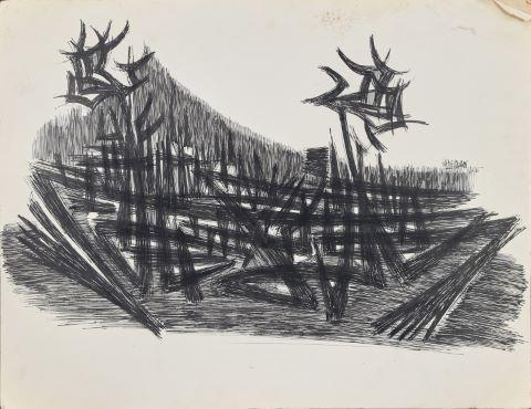 Composition abstraite & Deux baigneuses [œuvre recto/verso]