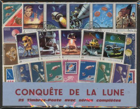 Conquête de la Lune, 25 timbres-poste avec série complète
