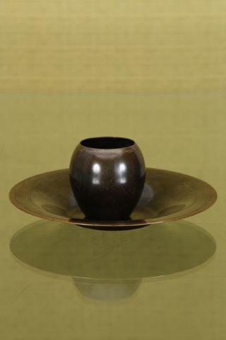 Vase ovoïde + coupe circulaire à col évasé