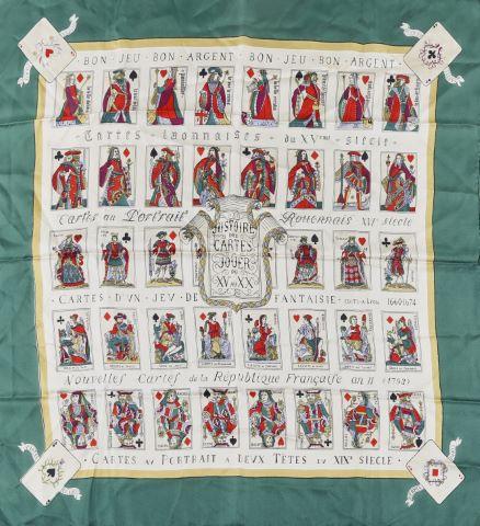 Carré de soie, modèle Histoire des cartes à jouer du XVème au XXème siècle