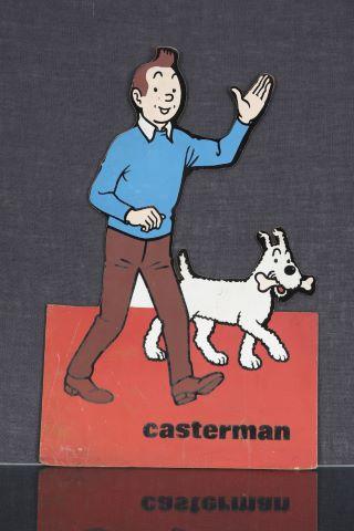 Panneau publicitaire vintage Tintin et Milou