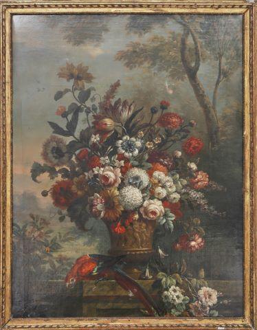 Bouquet de fleurs et perroquet sur un entablement