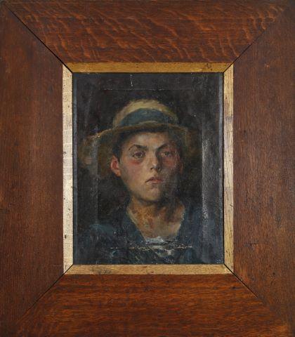 Portrait d'homme de profil au chapeau rouge et Portrait de jeune homme au canotier et à la vareuse