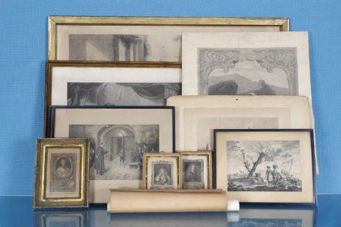Ensemble de 13 gravures anciennes