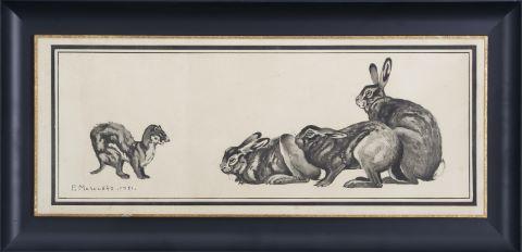 2 lithographies animalières en noir et blanc