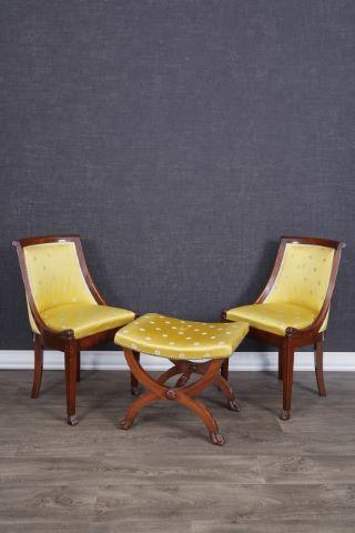 2 chaises gondoles + 1 tabouret curule