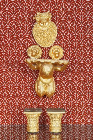Ensemble de 6 objets en plâtre doré