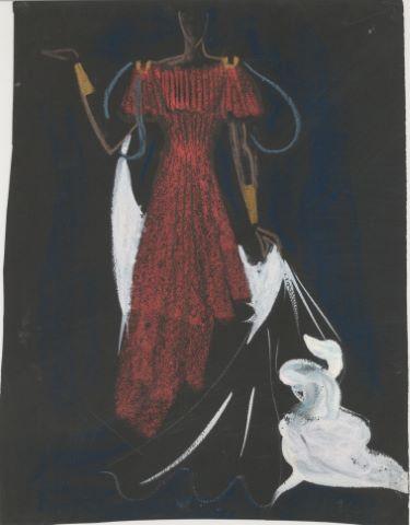 5 études de costumes pour la pièce de théâtre Amphytryon de Molière donnée à la Comédie française en 1957