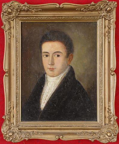 Portrait en buste d'homme de trois-quart à la cravate blanche