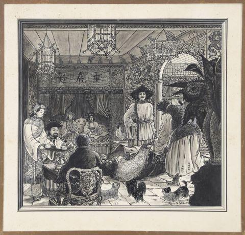 4 illustrations, paysans mongols et chinois