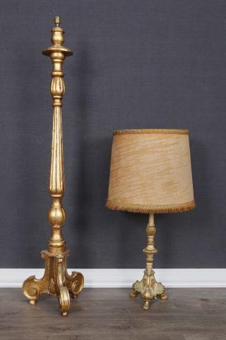 2 pique-cierges montés en lampe et lampadaire