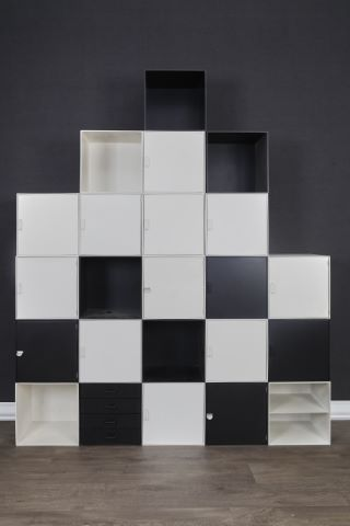 Bibliothèque composée de 23 cubes de rangement