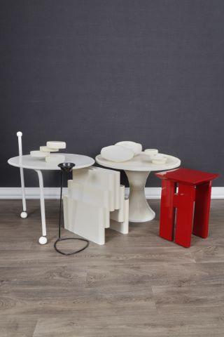 Mobilier de salon en polymère blanc