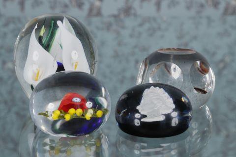 4 sulfures boules presse-papier