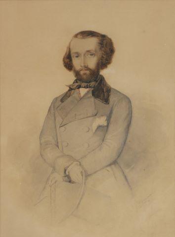 Portrait d'homme à la redingote et au chapeau haut de forme