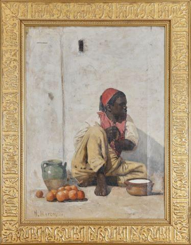 Jeune Maure marchand d'oranges à la cruche verte au pied de la Kasbah