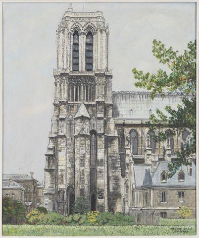 Notre-Dame de Paris, la Tour Sud vue du Quai Montebello