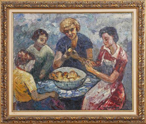 Femmes épluchant des pommes de terre