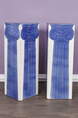 Paire de sellettes figurant des colonnes