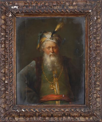 Portrait d'homme au turban habillé à l'orientale