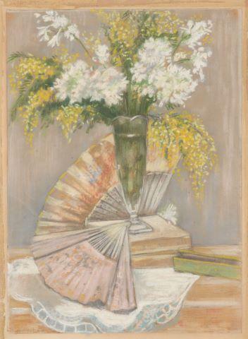 2 Nus à la lecture et Nature morte aux éventails et au vase fleuri [3 œuvres]