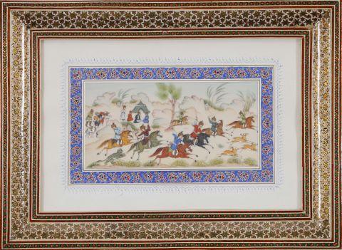 Miniature scène de chasse au tigre et aux cervidés