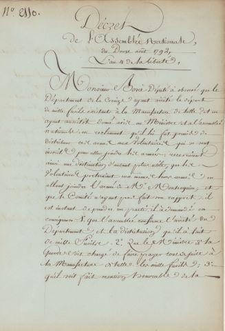 Décret de l'Assemblée Nationale du 12 août 1792