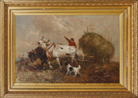 Bœufs tirant un chariot de foin