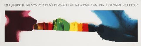 Affiche de l'exposition Paul Jenkins œuvres 1953-1986 musée Picasso Château Grimaldi Antibes du 18 mai au 28 juin 1987