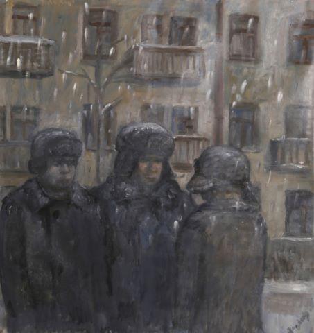 Trois personnages sous la neige