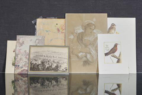 Important ensemble de gravures, dessins et aquarelles à thématique florale