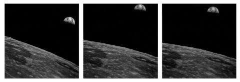 Vues sur la Terre durant la phase de rendez-vous avec le module lunaire