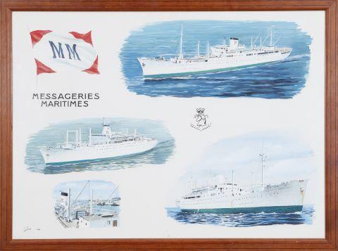 Projet d'affiche pour la compagnie Les Messageries Maritimes représentant les navires Laennec, Pasteur et Charles Tellier